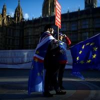 Des manifestants pro et anti-Brexit ont manifesté devant le Parlement, à Londres, mardi.