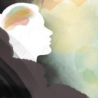 La silhouette d'une personne regardant au loin est dessinée sur un fond abstrait.