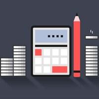 Illustration d'une calculatrice, un crayon et de la monnaie