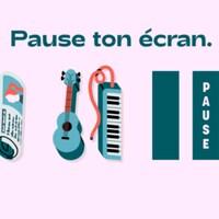Infographie montrant des journaux, des instruments et un animal, avec le logo  de l'organisme Pause, et le slogan Pause ton écran.