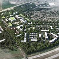 Plan aérien du quartier projeté, avec de nombreux arbres.