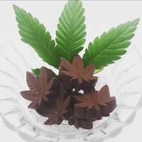 Un chocolat en forme de feuilles de cannabis est placé dans un vase, sur des vraies feuilles de cannabis.
