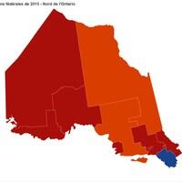 Une carte montrant les libéraux élus en rouge,  le NPD en orangé et le Parti conservateur en bleu.