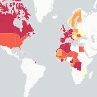Carte montrant le nombre de francophones par pays.