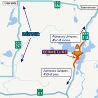 Une carte montre où sera placée la fermeture de la route 113.