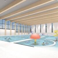 Le croquis présente des familles dans une piscine intérieure.