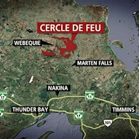 Carte montrant la position des villes de Timmins, Nakina et Thunder Bay en relation avec la région du Cercle de feu.