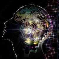 Illustration de la silhouette d'un visage humain et de symboles technologiques sur le thème de l'informatique et de l'intelligence artificielle.