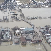 Photo aérienne au moment des inondations d'avril 2019 à Sainte-Marie.