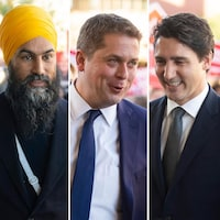 Jagmeet Singh (Nouveau Parti démocratique), Andrew Scheer (Parti conservateur), Justin Trudeau (Parti libéral), Yves-François Blanchet (Bloc québécois), Elizabeth May (Parti vert) et Maxime Bernier (Parti populaire) à leur arrivée au débat des chefs en français.