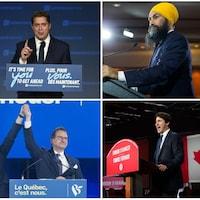 Photomontage des chefs des six principaux partis (dans le sens horaire) : Elizabeth May, Andrew Scheeer, Jagmeet Singh, Justin Trudeau, Yves-François Blanchet et Maxime Bernier.