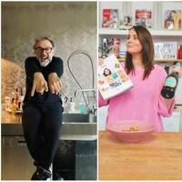 Les chefs Jacques Pépin, Massimo Bottura et Geneviève Everell sont montrés dans ce collage de photos.
