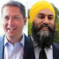 De gauche à droite, les visages d'Andrew Sheer, Jagmeet Singh, Elizabeth May et Justin Trudeau.