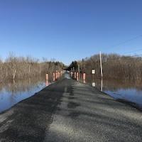 Un rang de campagne où on a placé des panneaux réfléchissants là où la chaussée est inondée.