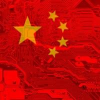 Drapeau chinois avec un arrière-plan de carte mère.