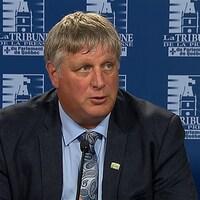 Gros plan sur le visage du président des Producteurs de grains du Québec, Christian Overbeek