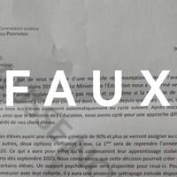 Capture d'écran d'une lettre faussement attribuée à la Commission scolaire des Patriotes laissant entendre, à tort, que l'année scolaire en cours est annulée.
