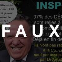 François Legault avec un gros sourire. Une bulle de pensée au-dessus de sa tête dit : « 8.5 millions de population, 210 morts et je mets le Québec en faillite! ». Le mot FAUX est transposé sur l'image.