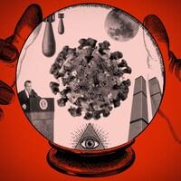 Deux mains autour d'une boule de cristal dans laquelle se trouvent un coronavirus, Richard Nixon, des missiles, une pyramide avec un œil, une Lune et les tours du World Trade Center.