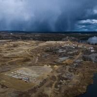 Une vue du début des travaux d'aménagement de la mine Magino, près de Dubreuilville.