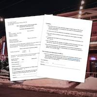 Une image de bars du Vieux-Hull avec deux pages du contrat.