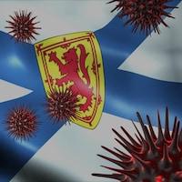 Concept illustrant le coronavirus sur un drapeau de la Nouvelle-Écosse.