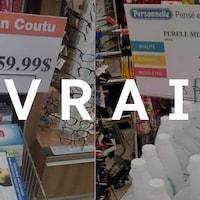 Des masques dans un étalage d'une pharmacie Jean Coutu de Montréal au prix de 59,99 $ l'unité photographiés par une cliente.