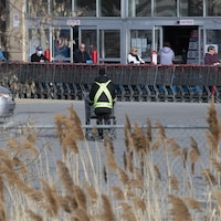 Un travailleur rapporte des paniers d'épicerie dans un stationnement.