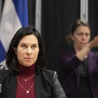 Valérie Plante lors d'une conférence de presse à propos de la COVID-19 à Montréal.