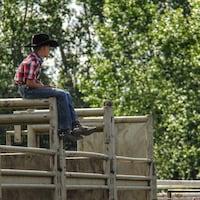 Un garçon portant un chapeau et des bottes de cowboy assis sur la structure des stalles.