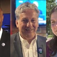 Trois candidats aux élections fédérales vus de face.