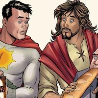 Deux personnages de bande-dessinée, un étant un super héros et l'autre, une représentation de Jésus, retiennent deux bandits dans leurs bras.