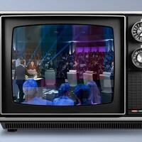 Image des 6 chefs de parti dans l'écran d'un téléviseur