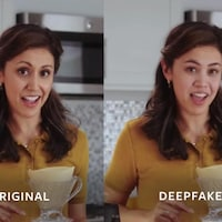"""Une femme dans une cuisine côte-à-côte avec une version """"deepfake"""" d'elle-même."""