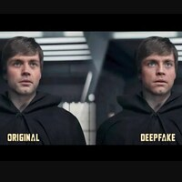 Capture d'écran d'un montage montrant l'image originale et modifiée de Luke Skywalker dans la série «The Madalorian».