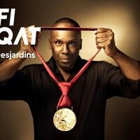 Un montage indique Défi FUQAT Desjardins, avec une photo de Bruny Surin tenant un médaille d'or.
