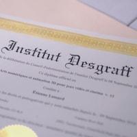 Un diplôme décerné par l'institut Desgraff à Étienne Lessard.