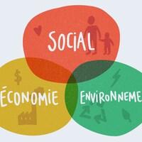 Les trois piliers du développement durable : Économie, social et environnement.