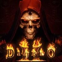 Un démon aux yeux rouges avec le logo de « Diablo II  » en dessous.