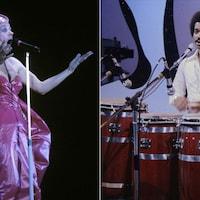 Une femme avec une robe chante à un micro et un homme chante à un micro en frappant sur des tambours.