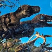 Illustration artistique du tyrannosaure arctique Nanuqsaurus avec ses petits.