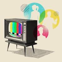 Un vieux modèle de télévision avec les barres de différentes couleurs à l'écran