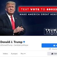 Une capture d'écran de la page Facebook de Donald Trump.