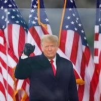 Donald Trump a le poing ganté de noir levé en l'air.