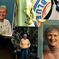 Trois photographies d'une dame aux cheveux courts blancs et le logo des Blue Jays.