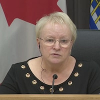 La ministre de la Santé du Nouveau-Brunswick, Dorothy Shephard, lors d'un point de presse le 3 mars 2021.