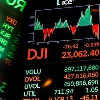 L'indice Dow Jones après la clôture de la Bourse de New York (NYSE) à New York, États-Unis, le 28 décembre 2018.