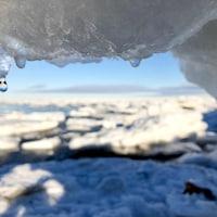 En avant plan, un glacier qui fond. En arriere plan un cours d'eau avec de gros morceaux de glace.