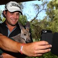 Le golfeur américain Peter Uihlein prenant un égoportrait avec un kangourou lors du tournoi international de Perth, en Australie