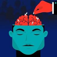 Illustration du concept de semer une idée dans la tête des gens, semer le doute. Un cerveau humain représenté comme un terreau fertile, dans lequel une main, suggérant celle de Q, sème une graine. On voit déjà des pousses, comme si d'autres idées s'étaient déjà implantées. En arrière-plan, plusieurs silhouettes humaines avec plusieurs pousses sur le dessus de leurs têtes.